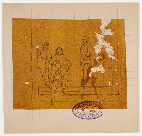 Runeberg vaimoineen ja kaksi nuorukaista portaissa