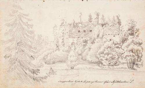 Snappertunan kirkko ja Raaseporin linnan rauniot nähtynä Mjölkbackenilta päin