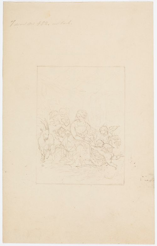 Istuva Neitsyt Maria lapsi sylissään siivitettyjen enkellasten ympäröimänä vuohi vieressään vasemmalla.