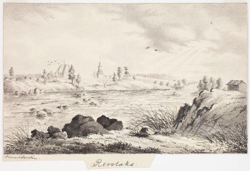 Revonlahti, originaalipiirustus teokseen Finland framställdt i teckningar