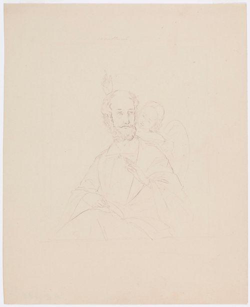 Istuva apostoli (?), puolifiguuri, kirjoittamassa kirjaan; vasemman olkapään takaa näkyvä enkeli pitää oikeaa kättään hänen päällään