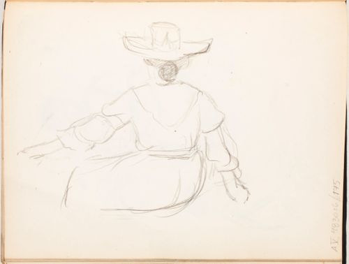Istuva hattupäinen nainen