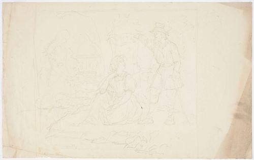 Maisema, istuva nainen ja kerjäläinen seisomassa hänen vierellään. Vasemmalla luonnosteltu tyttö, taka-alalla maalaistalo