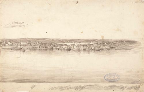 Helsinkiläinen satama, Katajanokkaa ja Kruununhakaa, kuvitusta teokseen Finland framställdt i teckningar, sivu nro 3