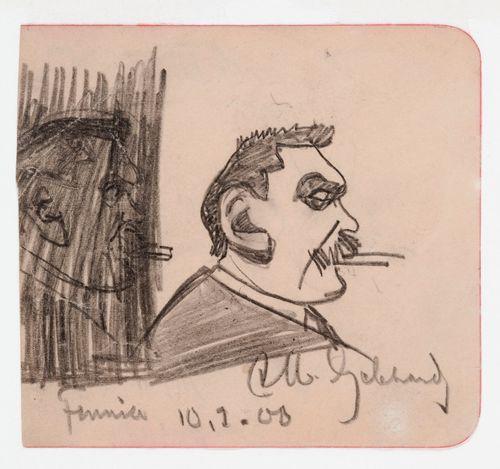 Albert Edelfeltin muotokuva, karikatyyri