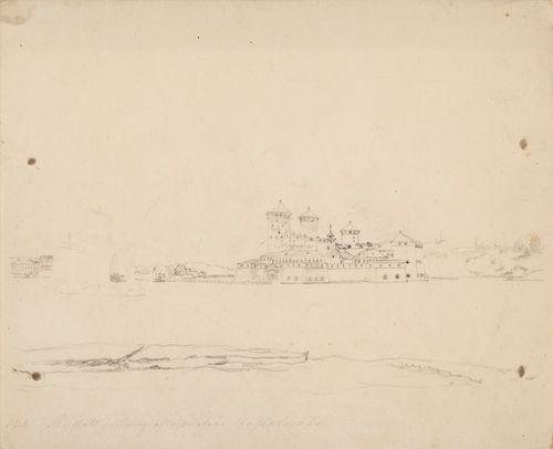 Olavinlinna, vasemmalla kolme luonnosteltua vierekkäistä purjevenettä.