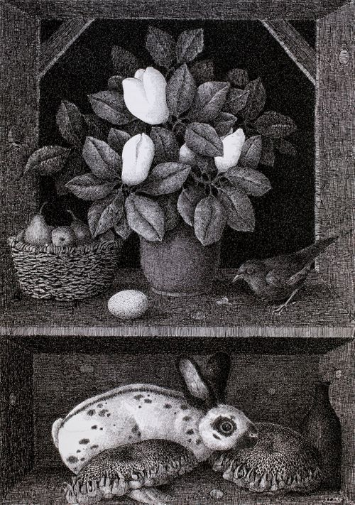Magnoliamaljakko ja eläimiä