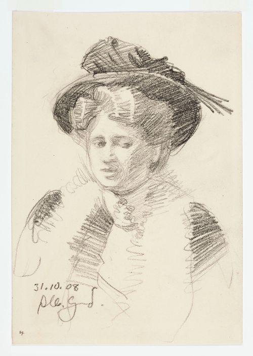 Hattupäisen naisen rintakuva, muotokuvaharjoitelma