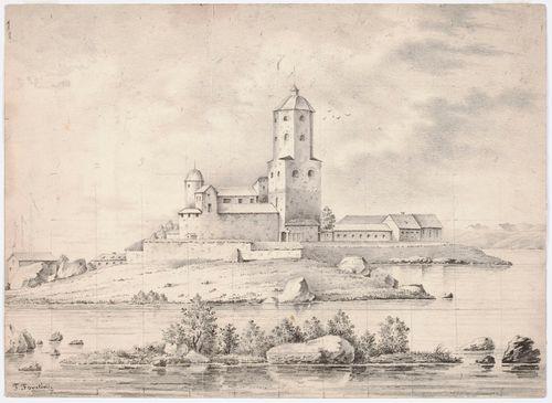Viipurin linna, originaalipiirustus teokseen Finland framställdt i teckningar