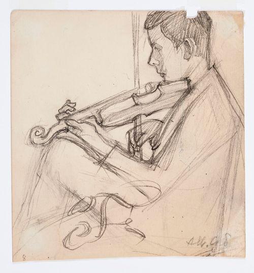Istuva viulua soittava poika