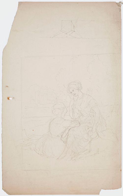 Kaksi istuvaa naista ja heidän jalkojensa vieressä makaava koira