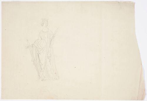 Goottilainen naisfiguuri kruunu päässä, miekka oikeassa ja rauhanpalmunoksa vasemmassa kädessä. Seisova kokofiguuri.