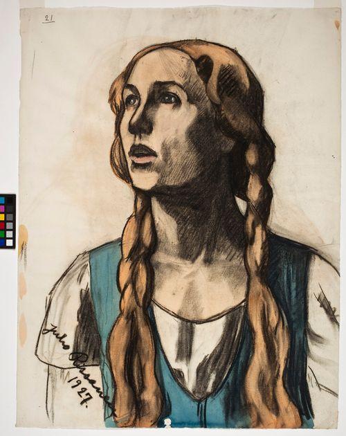 Nuori tyttö, luonnos Kansallisteatterin freskomaalausta varten