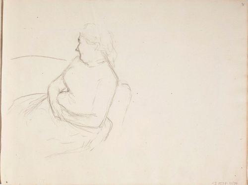 Keski-ikäinen nainen, muotokuvaluonnos sivulta