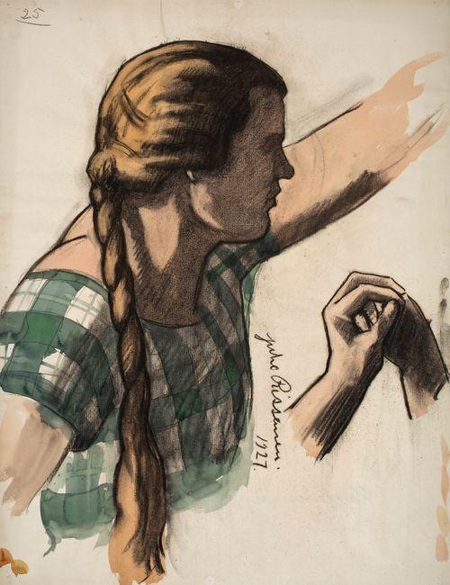 Nuori tyttö vihreäruutuisessa hameessa, luonnos Kansallisteatterin freskomaalausta varten