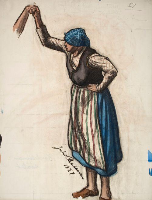 Nuori tyttö piiritanssista, luonnos Kansallisteatterin freskomaalausta varten