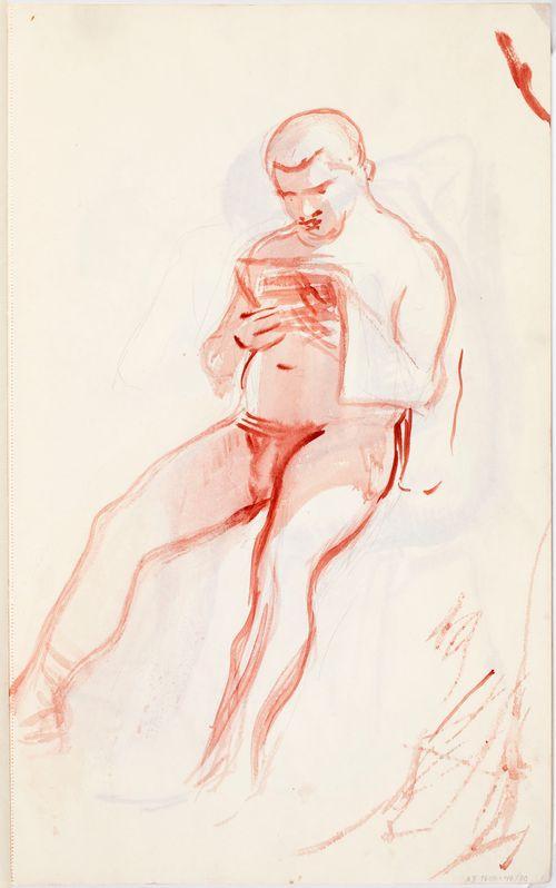 Istuen lukeva alaston mies, luonnos