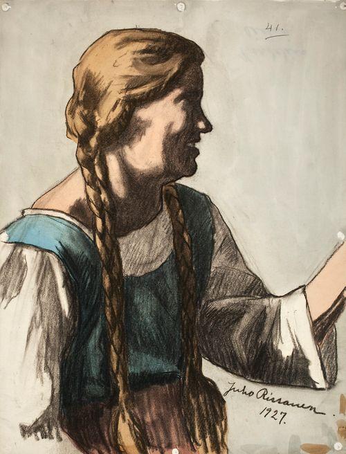 Sivukuva nuoresta tytöstä, luonnos Kansallisteatterin freskomaalausta varten