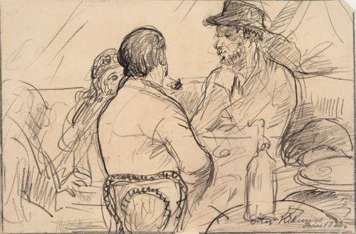 Pariisilaistyyppejä kahvilassa Montparnassella
