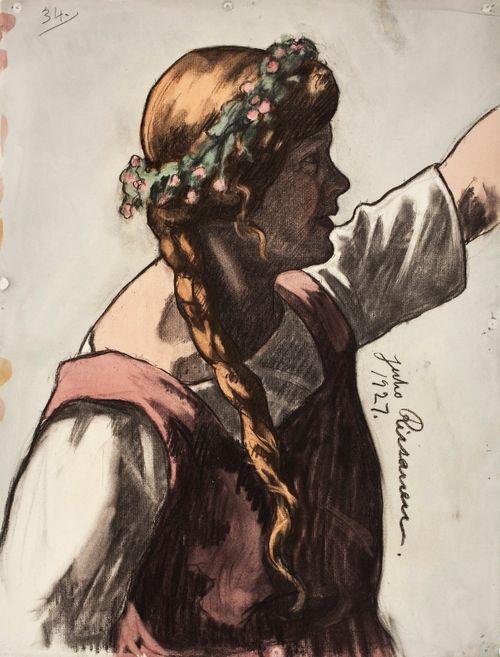 Nuori tyttö hiuksillaan kukkakranssi, luonnos Kansallisteatterin freskomaalausta varten