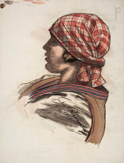 Nuori tyttö punaruutuisessa päähuivissaan, luonnos Kansallisteatterin freskomaalausta varten