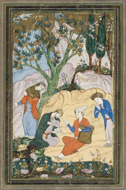 Nuori ruhtinas seurueineen maisemassa, persialainen miniatyyri