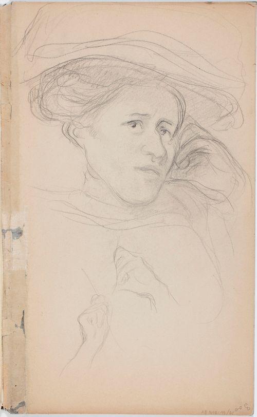 Hattupäisen naisen muotokuva, luonnos