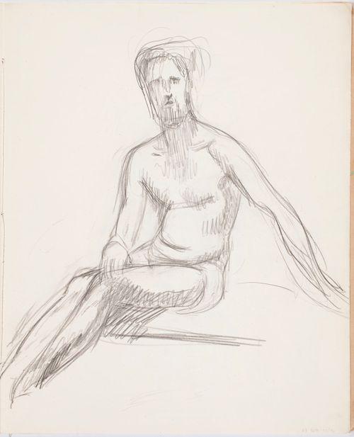 Istuva alaston mies, luonnos
