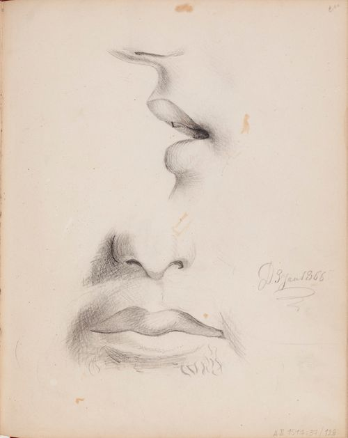 Nenä ja huulet sivulta ja edestä. Merkitty: D 3 Jan 1866.