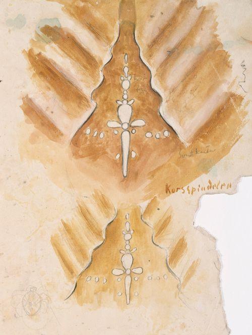 """""""Korsspindelen"""", kaksi luonnosta Tampereen tuomiokirkon (Johanneksen kirkko) pohjoislehterin holvivaippaa varten ; Miehen pää lyijykynällä (kaksipuolinen teos)"""