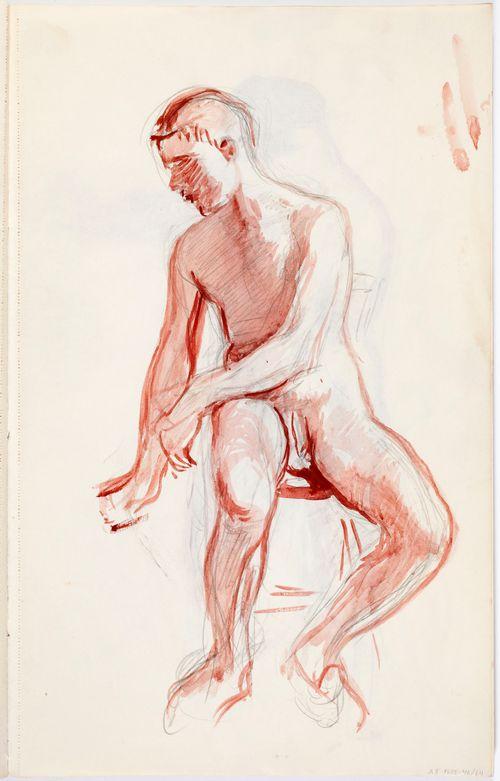 Istuva alastn mies, luonnow