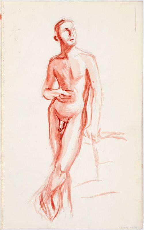 Poseeraava alaston mies