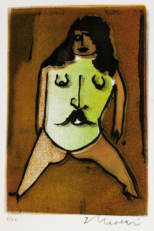 Nainen jolla miehen vihreät kasvot vartalona