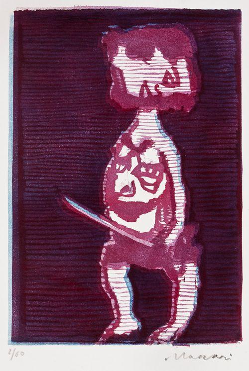 Poikkipäinen figuuri miekka kädessään
