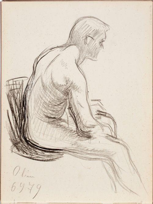 Istuva alaston mies