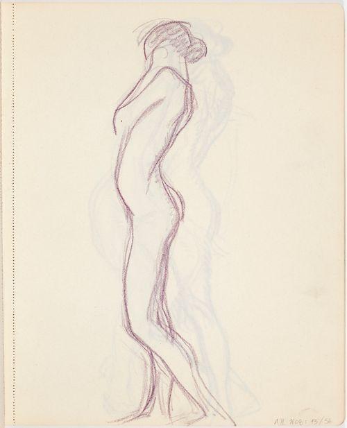Seisova nuori alaston nainen sivusta, luonnos