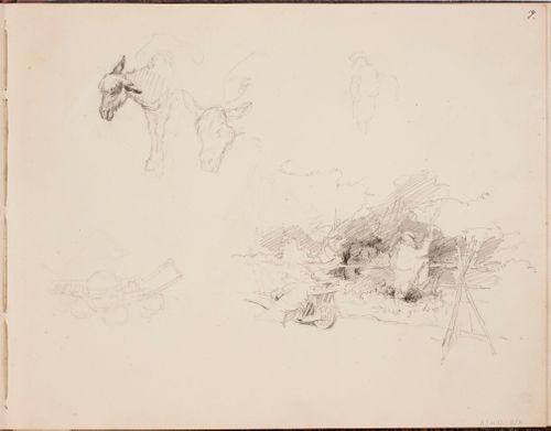 Aasit ; Maisema, jossa selin seisova mies ja heinäkärryt