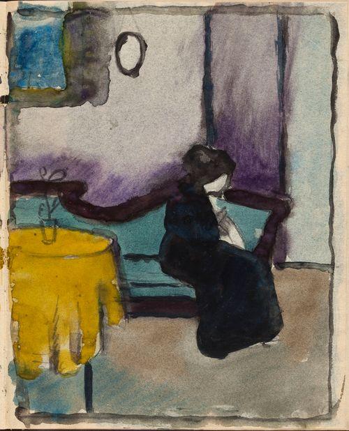 Sisäkuva, nainen istumassa empire -sohvalla