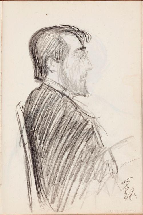 Istuvan miehen muotokuva sivusta, luonnos