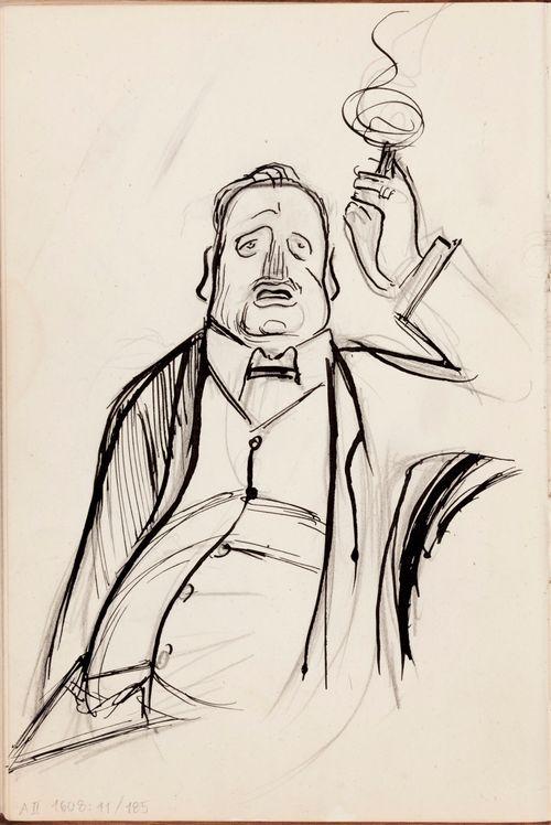 Karikatyyri sikaria polttavasta miehestä