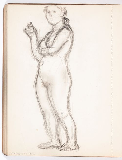 Seisova alaston nainen, luonnos