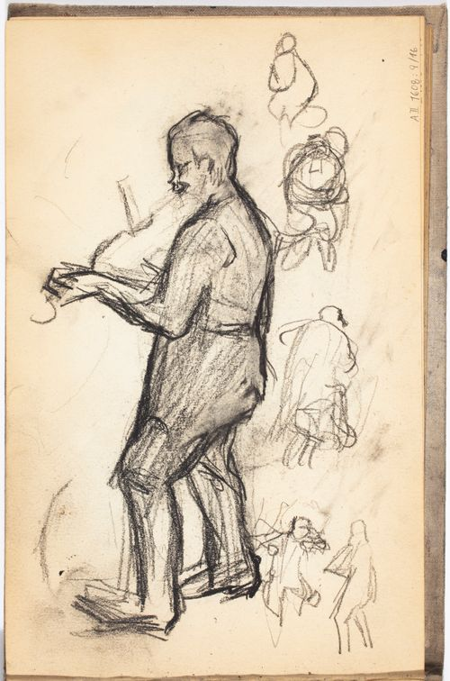 Viulun soittaja ja hahmoja, luonnos