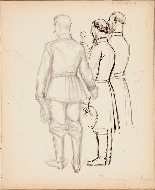 Kolme miestä,  luonnos Nikolai II:n kruunajaiskuviin. Merk.: Kroningen i Moskva