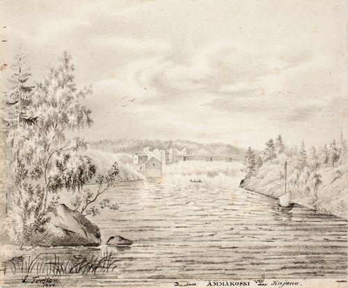 Ämmäkoski Kajaanissa, originaalipiirustus teokseen Finland framställdt i teckningar