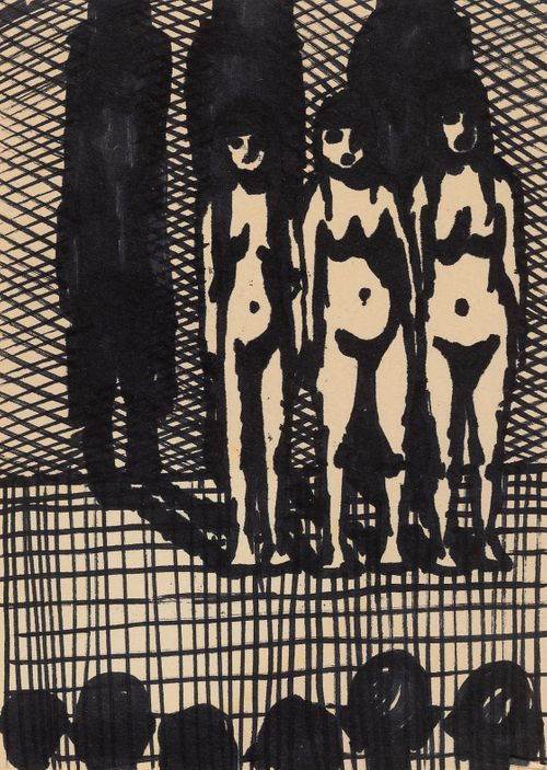 Kolme alastonta naista, etualalla katsojien päitä