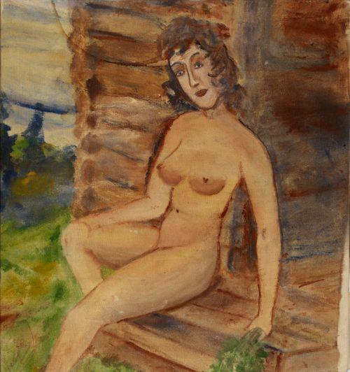 Nainen saunan portaalla