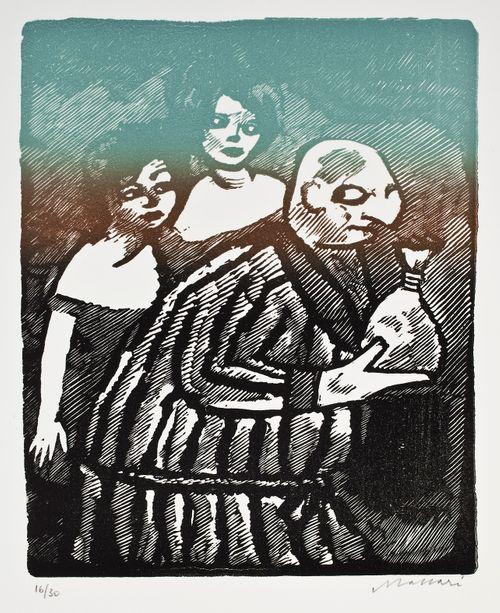 Mies pussin kanssa takanaan kaksi naista
