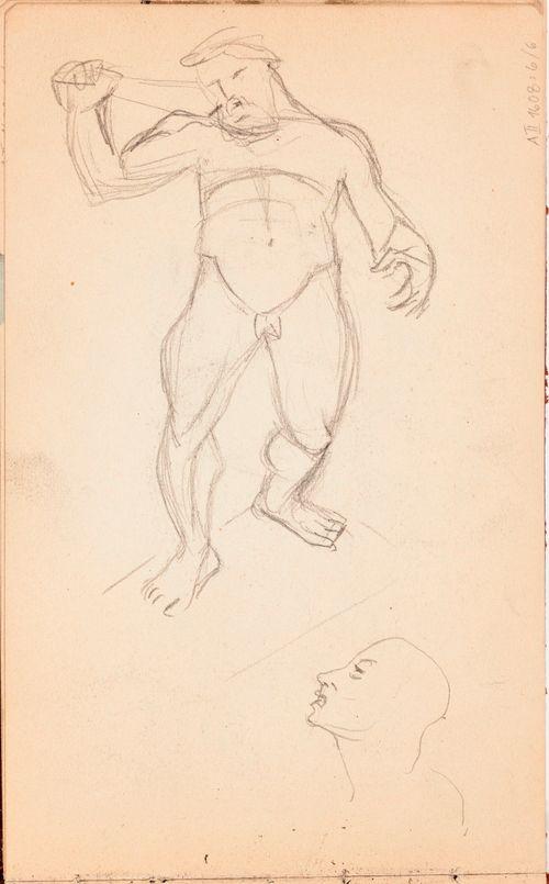 Alaston mies (Herkules?) ja kasvot, luonnos