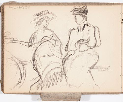 Kaksi istuvaa naista, luonnos