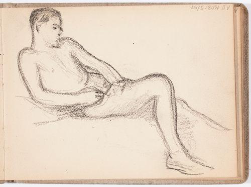 Lepäävä alaston mies, luonnos
